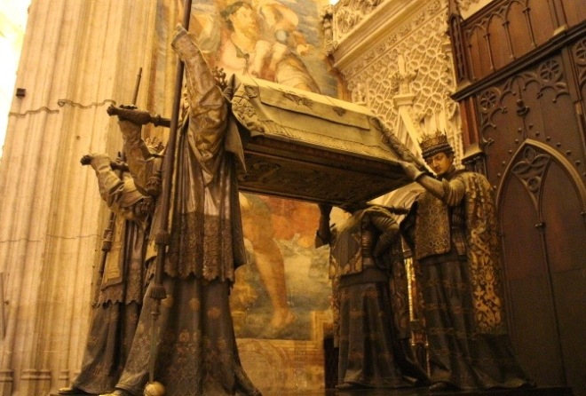 The tomb of Christopher Columbus carried by the first 4 kings of Spain.