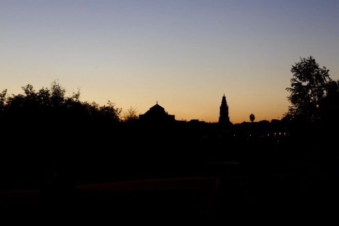 That's the bell tower and the gorgeous sunset. Perfect wrap up!