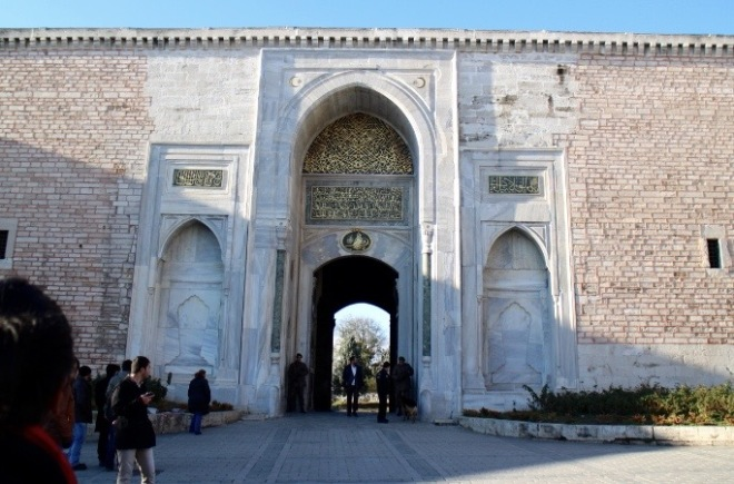 Gate to Topkapi Palace. It's made of marble.
