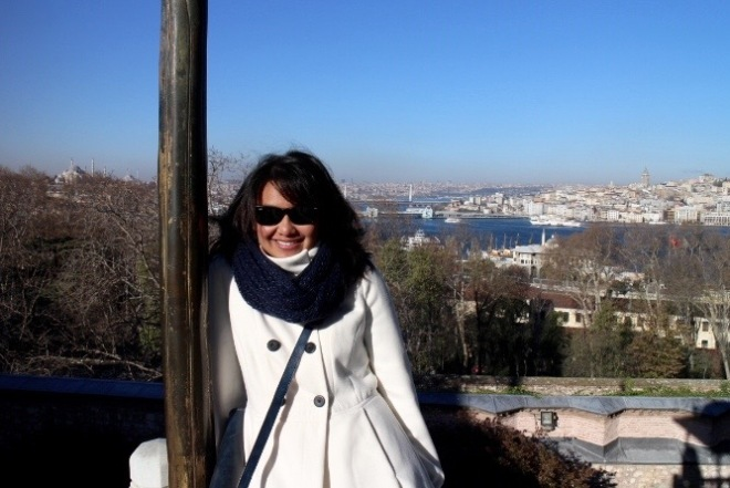 Standing on the European side of Istanbul. Across the waters, that's the Asia side of Istanbul. One of the many interesting things about Istanbul.