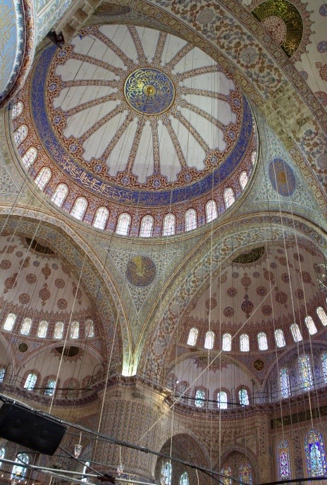 Interior design of Blue Mosque.
