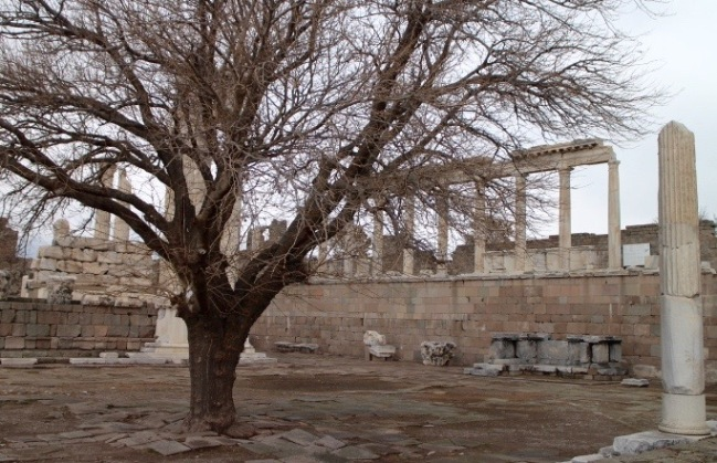 Ruins in Acropolis of Pergamon.